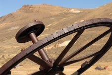 Free Old Iron Wheel In The Ghost Town Of Bodie California Stock Photography - 1504552