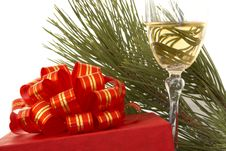 Free Gift Box And Glass Of Champagne Stock Photos - 1505453