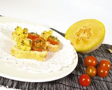 Tomato And Melon Appetizer Stock Photo