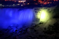 Free Niagara Falls At Night With Lights Stock Image - 1508211