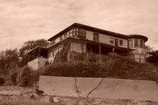 Old Abandoned Beach House Sepia Stock Image