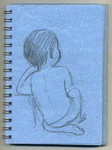 Kid Sitting- Sketchbook Stock Photography