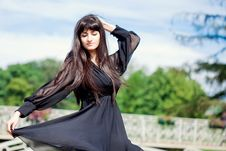 Free Young Beautiful Girl With Long Black Hair Royalty Free Stock Photo - 15000445