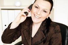 Smiling Businesswoman Calling By Phone Stock Images