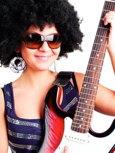 Free Young Guitarist Girl Holding Guitar Royalty Free Stock Photo - 15001205