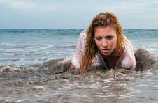 Free Wet Woman On The Seaside Royalty Free Stock Photo - 15002505