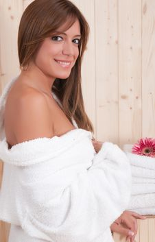 Free Woman In Spa With Flower Stock Image - 15002701