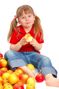 Free The Little Girl With Apples Royalty Free Stock Photography - 15002817