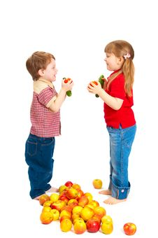Children With Fruit And Vegetables Stock Photos