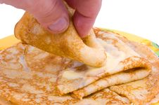 Free The Hand Takes Pancakes Stock Photography - 15004452