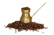 Free Old Coffee Pot And Beans Stock Images - 15004614