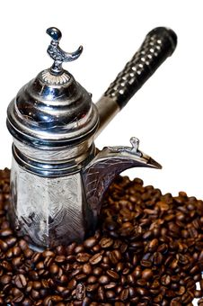 Free Turkish Coffee Pot And Coffee Beans Stock Image - 15004721