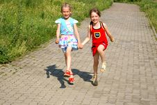 Two Cheerful Girl-friends Royalty Free Stock Photos