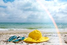 Hat And Flip-flop Stock Photo