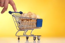 Free Metal Shopping Trolley Filled With Bread Stock Photography - 15005442