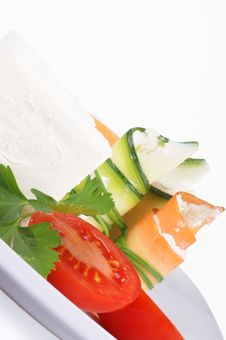 Cream Cheese, Zucchini And Carrot Rolls Stock Image
