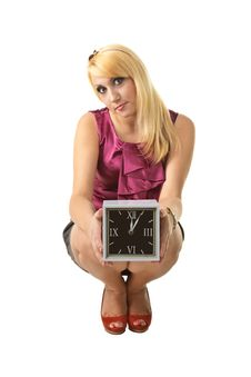 Free Young Woman With Clock Stock Image - 15007411