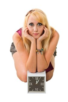 Free Young Woman With Clock Royalty Free Stock Photos - 15007418