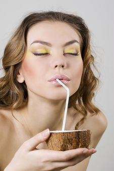 Free Woman Enjoying Coconut Milk Royalty Free Stock Images - 15007949
