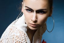 Free Woman With Black Eyebrows Stock Image - 15008081