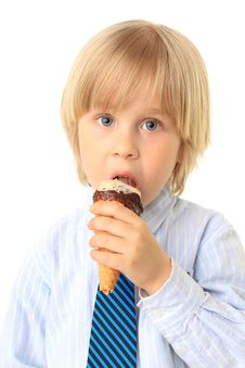 Free Little Boy Eating Ice Cream Stock Photo - 15008980