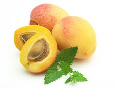 Free Apricots With Stone And Mint Stock Image - 15009071