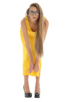Young Woman In Yellow Dress And With Glasses Royalty Free Stock Photography