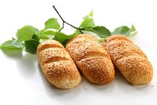 Free Three Bread Rolls With Birch Leaves Royalty Free Stock Photography - 15009377