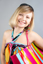 Free Portrait Of Girl With Striped Bag Stock Photography - 15018502