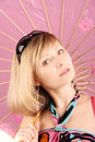 Free Portrait Of Girl With Pink Umbrella Royalty Free Stock Images - 15018629