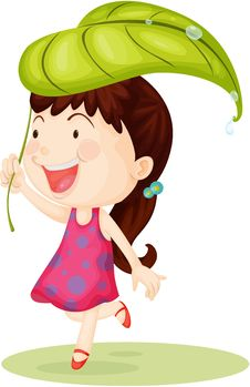 Free Girl Carrying Leaf On Head Stock Photography - 15011082