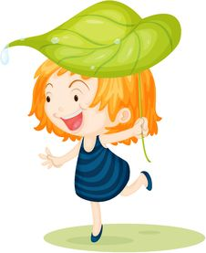 Free Girl Carrying Leaf On Head Royalty Free Stock Photo - 15011085