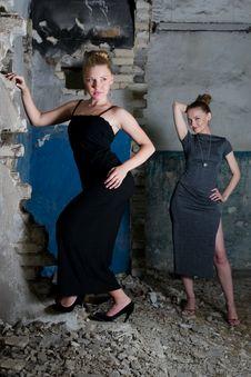 Beautiful Young Women Posing In The Ruins Royalty Free Stock Photo