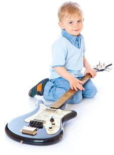 Free Little Boy With Guitar Royalty Free Stock Images - 15011709