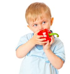 Free Boy With Sweet Pepper Royalty Free Stock Image - 15011716