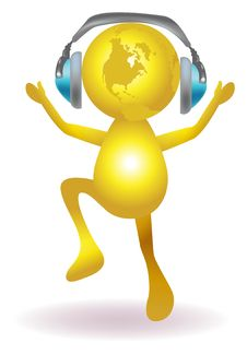 Glob With Headphone Royalty Free Stock Photo