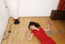 Free Woman In Red Dress Lying On The Ground Stock Photo - 15014940
