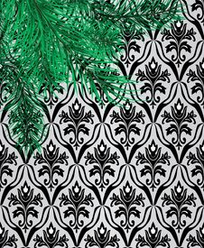 Free Branches Of A Pine Against A Wall With Wallpaper Royalty Free Stock Photo - 15014995