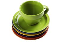 Green Tea Cup With Saucers Royalty Free Stock Image