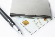 Free Business Card Holder Case With Pen Royalty Free Stock Photography - 15015987