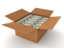 100 Dollar Bills In Cardboard Stock Image