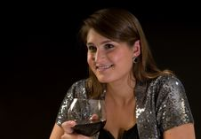 Free Young Woman With Wine Stock Photos - 15016543