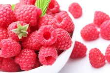 Crockery With  Beautiful Tempting Raspberries. Royalty Free Stock Images