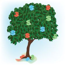 Free Illustration Of Alone Growing Tree With Dollar Stock Photos - 15018273