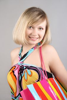 Free Portrait Of Girl With Striped Bag Royalty Free Stock Photo - 15018485