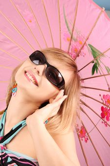 Free Portrait Of Girl With Pink Umbrella Stock Photos - 15018563