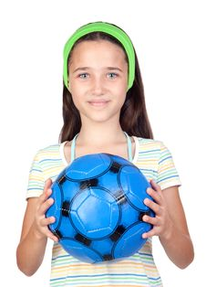 Free Adorable Little Girl With Soccer Ball Royalty Free Stock Photo - 15018675