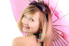 Free Portrait Of Girl With Pink Umbrella Royalty Free Stock Photography - 15018687