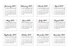 Free Calendar 2011 (Vector) Royalty Free Stock Photos - 15018728