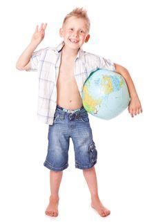 Free Boy And Globe Royalty Free Stock Photos - 15018938